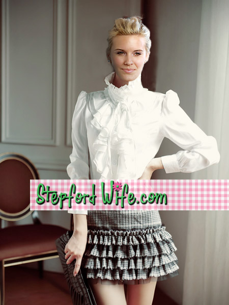 stepford Wife ruffle and ribbon blouse at www.stepfordwife.com